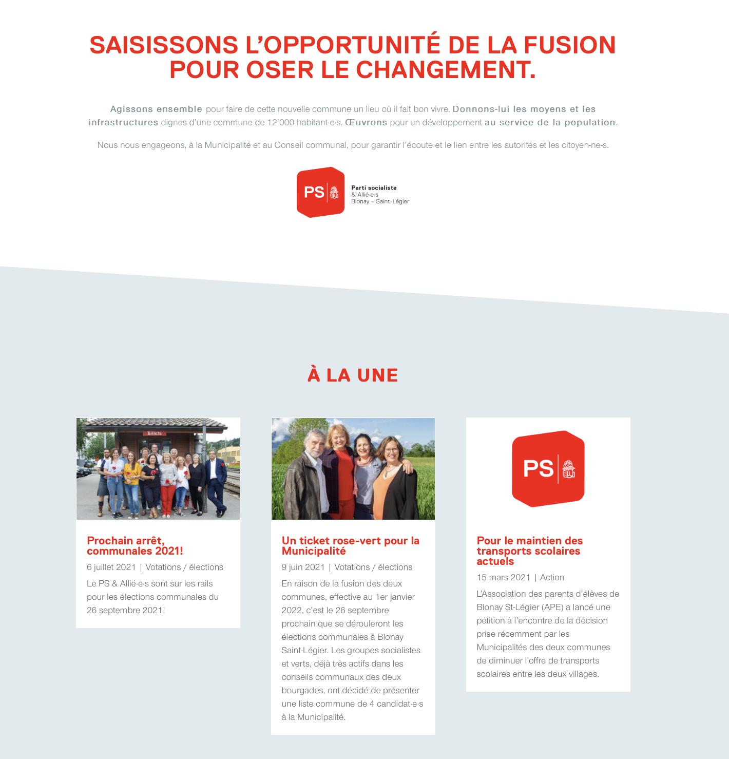 Site web PS Blonay - Saint-Légier